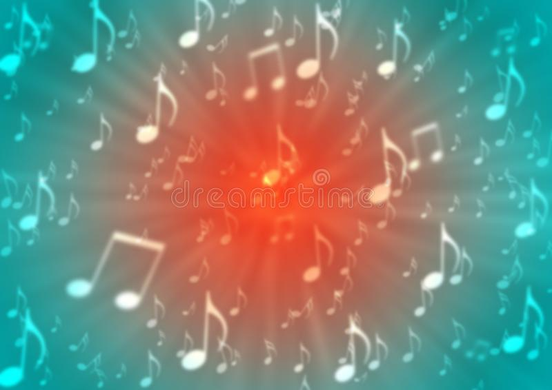 Le note astratte di musica fanno saltare nel fondo rosso e blu confuso illustrazione vettoriale