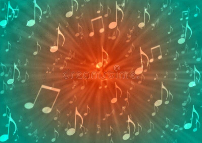 Le note astratte di musica fanno saltare nel fondo rosso e verde confuso royalty illustrazione gratis