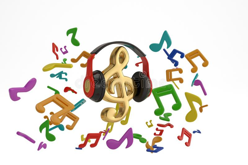 Le note di musica spruzzano dalla cuffia con il simbolo musicale sul BAC bianco fotografia stock libera da diritti