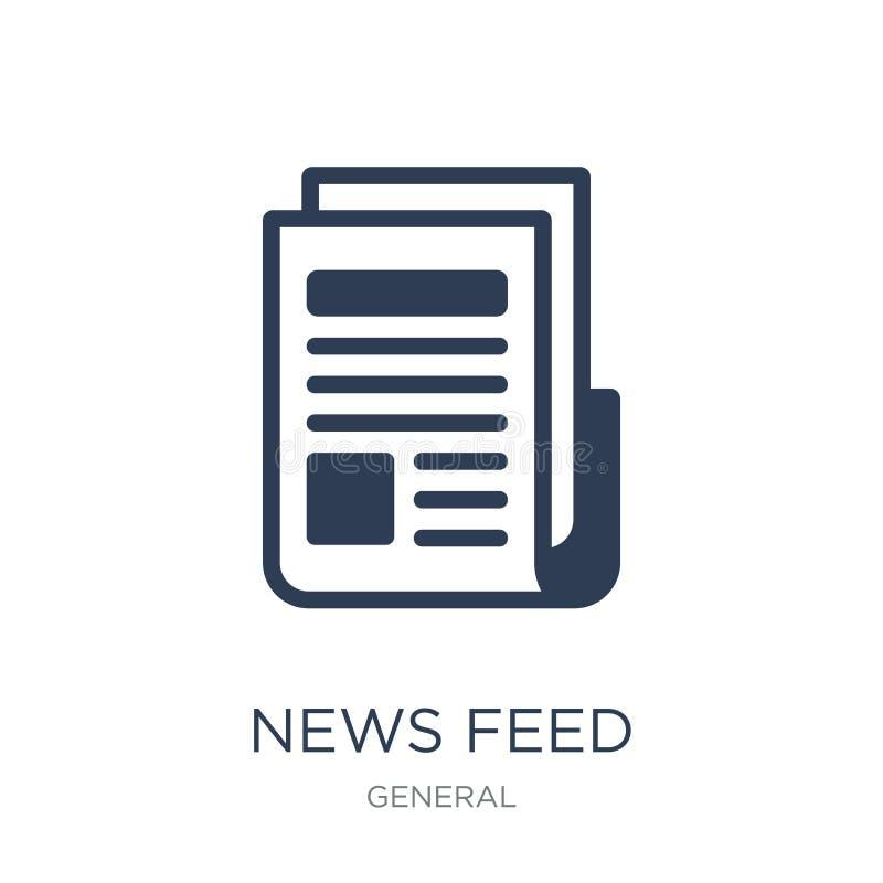 le notizie alimentano l'icona Icona piana d'avanguardia dell'alimentazione di notizie di vettore su backg bianco illustrazione vettoriale
