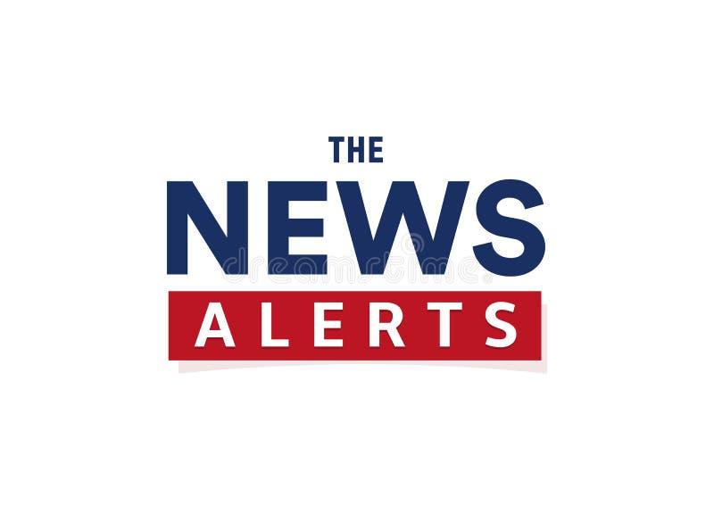Le notizie avvisano il modello semplice dell'insegna del testo, stile minimalistic Logo di ultime notizie, elemento di progettazi royalty illustrazione gratis