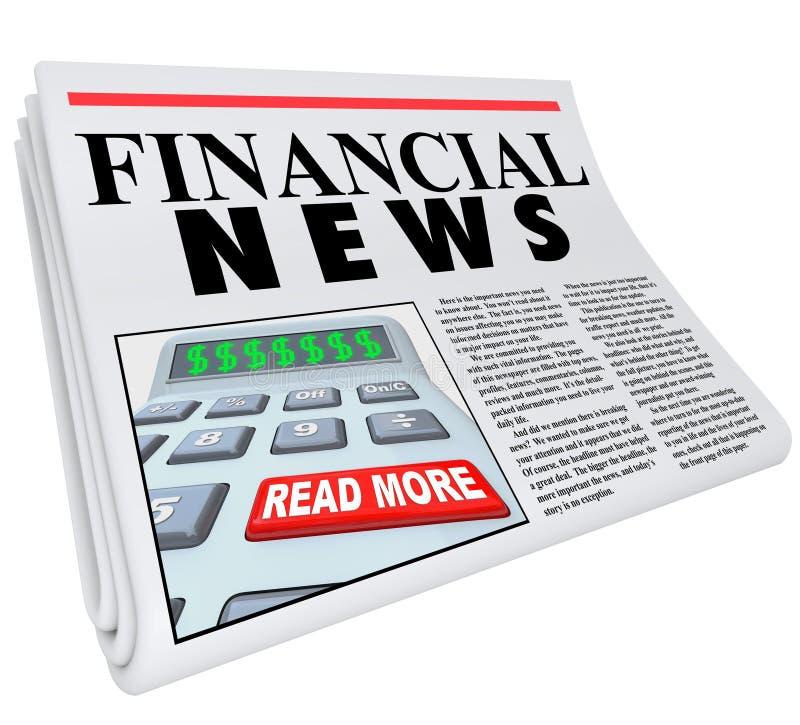 Le notizie finanziarie finanziano il consiglio del giornale di segnalazione illustrazione vettoriale