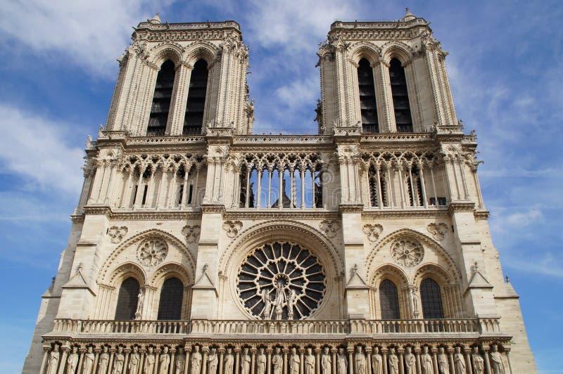 Le Notre-Dame de Paris de cathédrale - saisissez la prise de la vue de vue dehors, sans caractère et du jour images libres de droits