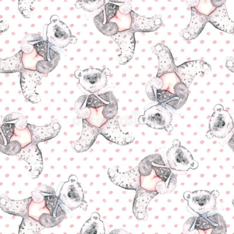Le nounours d'aquarelle concerne un fond rose pointillé Modèle sans couture peint à la main pour le tissu de bébé illustration stock