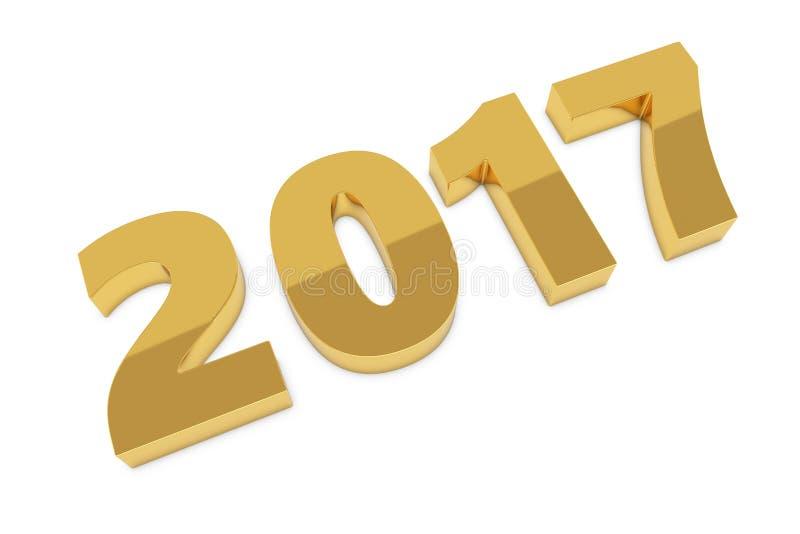 Le nouveau métal d'or de 2017 ans figure le mensonge sur le plancher illustration de vecteur
