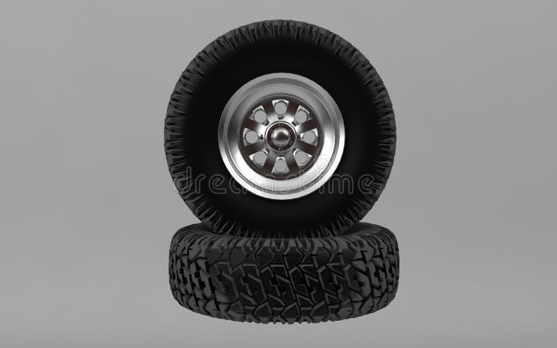 Le nouveau pneu tous terrains d'isolement sur le fond gris 3d rendent illustration de vecteur