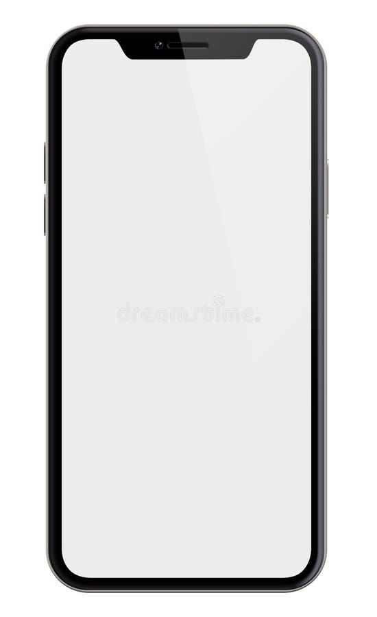 Le nouveau smartphone semblable à l'iphone X a isolé avec le chemin de coupure inclus photos libres de droits