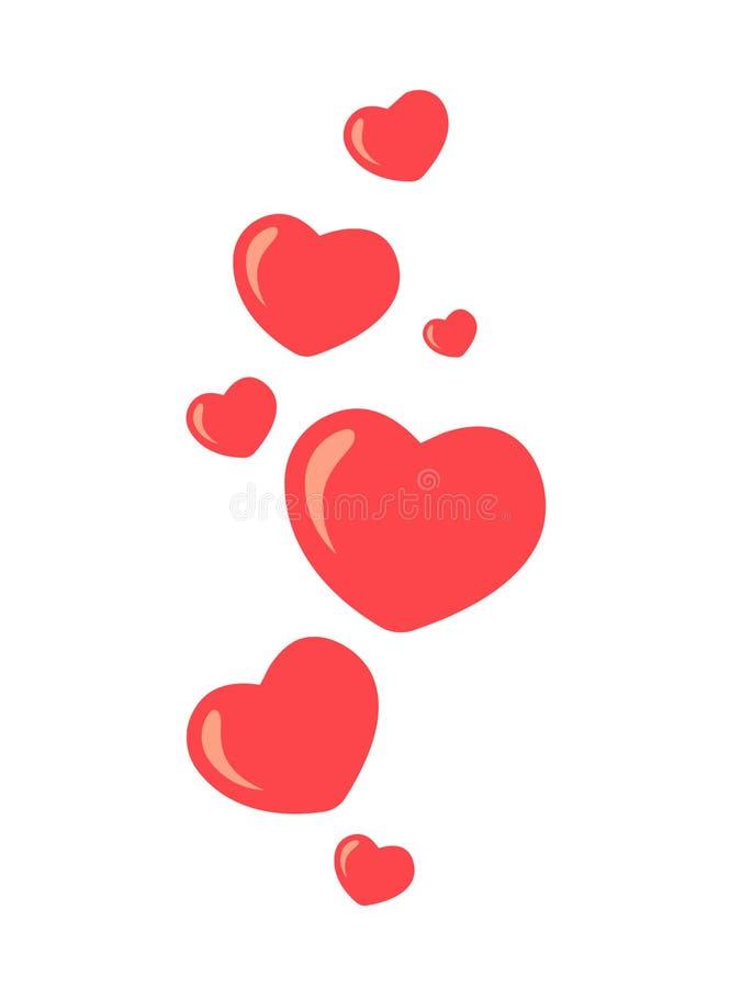 Le nouvel amour de coeur, aiment Vol vers le haut des coeurs Les coeurs rouges de diff?rentes tailles volent loin Comme et de coe illustration libre de droits