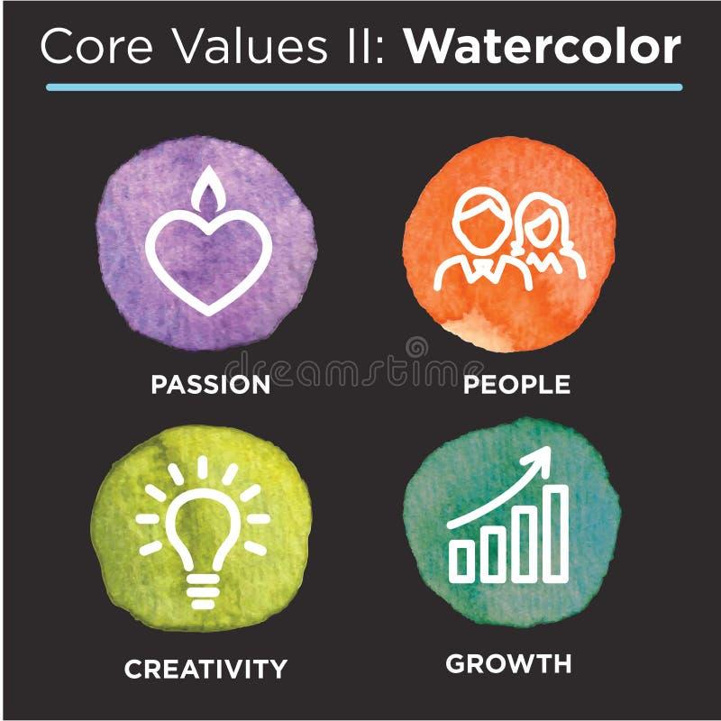 Le noyau de société évalue les icônes solides pour des sites Web ou Infographics illustration de vecteur
