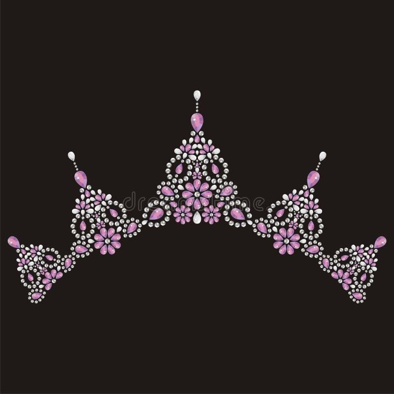 Le nozze delle donne della corona del diadema con i cristalli di rocca Regina, ricamata con le pietre preziose illustrazione vettoriale