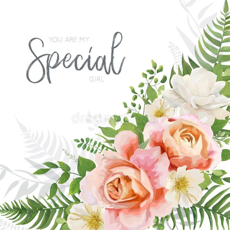 Le nozze di vettore invitano, invito, progettazione della cartolina d'auguri con il flo illustrazione di stock