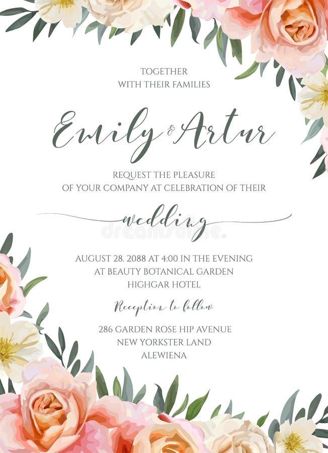 Le nozze floreali invitano, carddesign dell'invito con il rosa di giardino p illustrazione vettoriale
