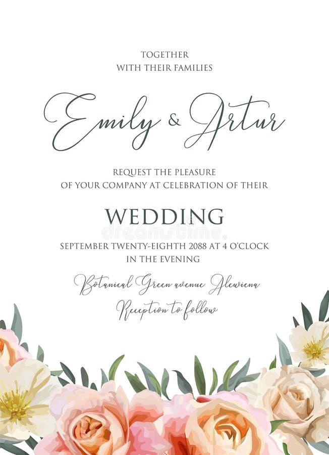Le nozze floreali invitano, carta dell'invito illustrazione vettoriale