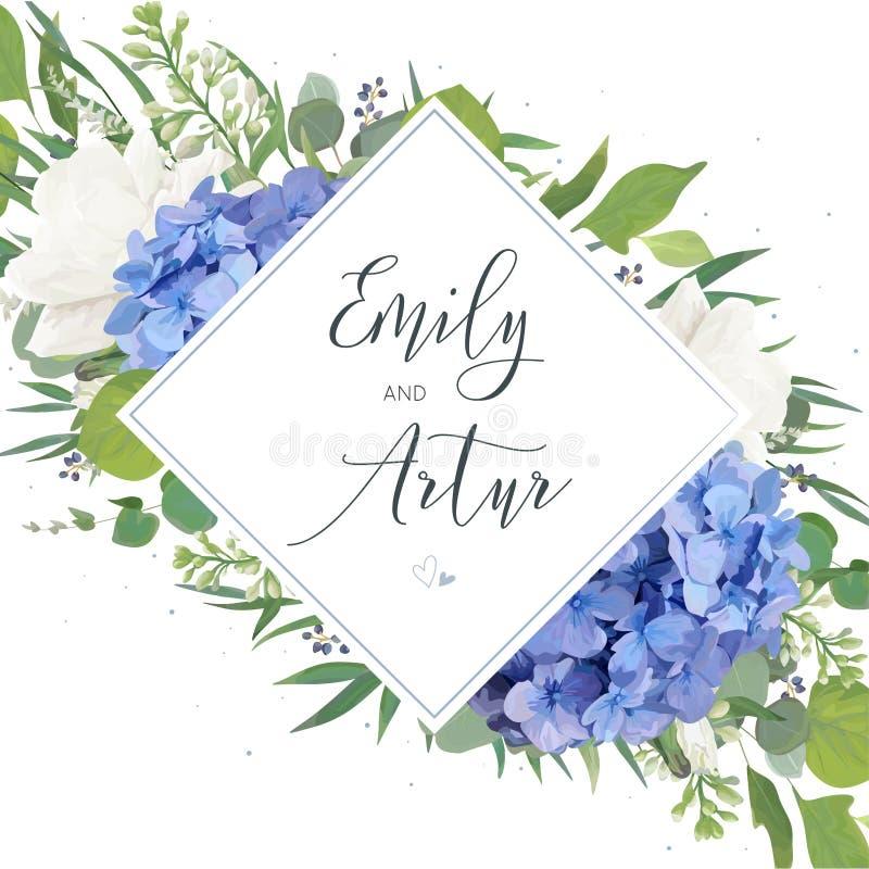 Le nozze floreali invitano, conservano la progettazione di carta della data con il bl elegante illustrazione vettoriale