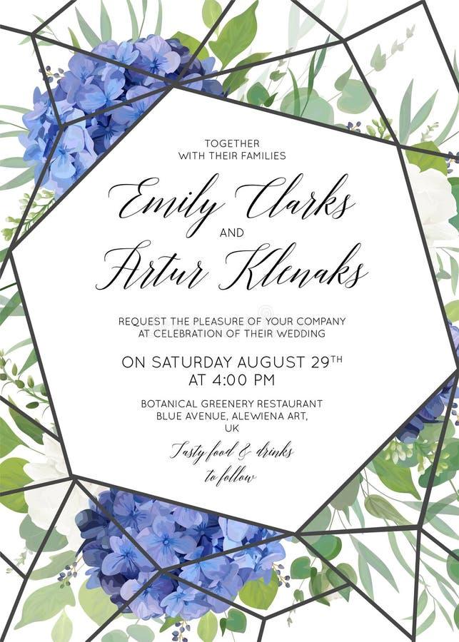 Le nozze floreali invitano, conservano la progettazione di carta della data con il bl elegante illustrazione di stock