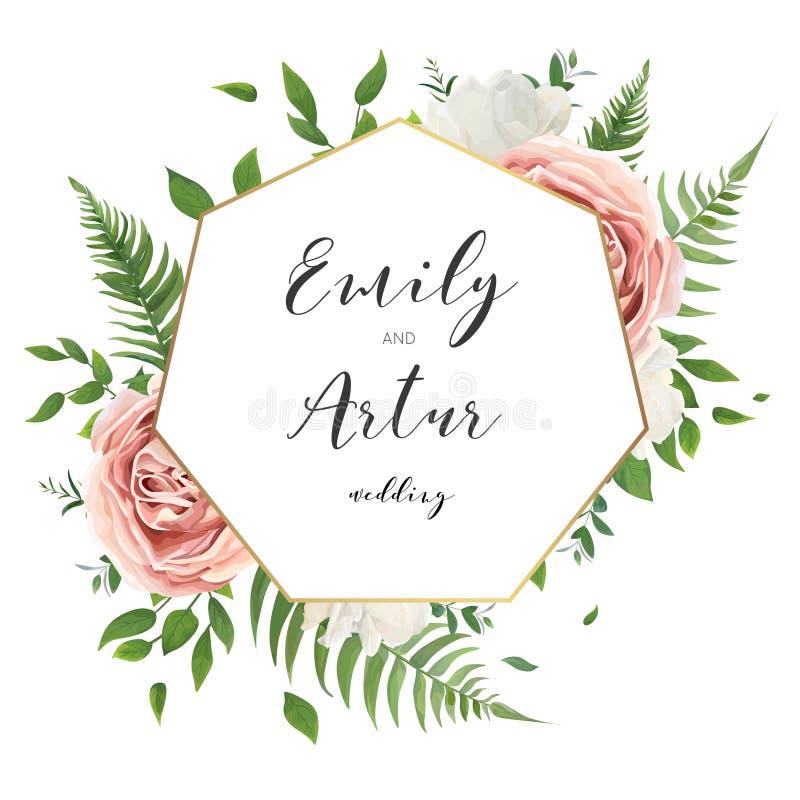 Le nozze floreali invitano i risparmi la progettazione di carta della data con briciolo cremoso illustrazione vettoriale