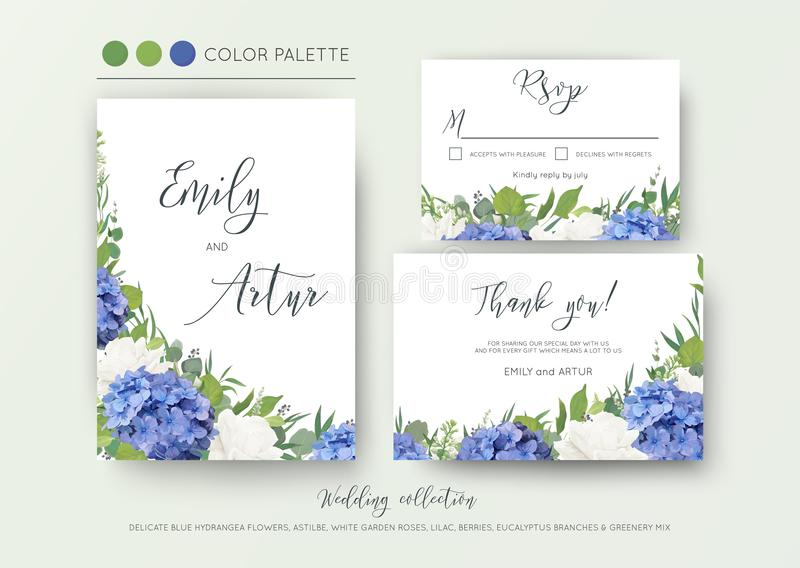 Le nozze floreali invitano, invito, conservano la data, grazie, il rsvp, progettazione di carta con i fiori eleganti e blu dell'o royalty illustrazione gratis