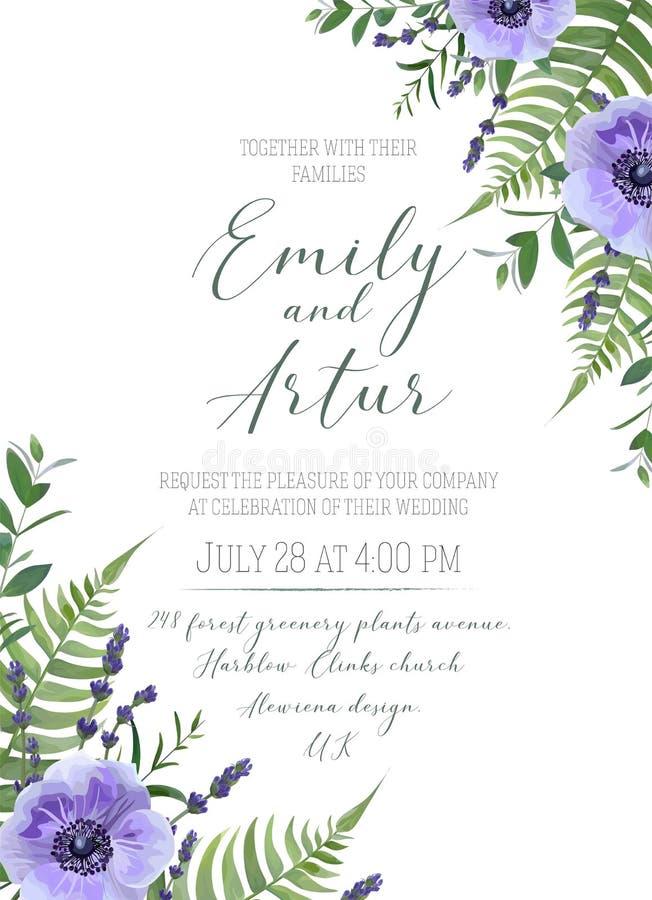 Le nozze floreali invitano, invito, conservano la progettazione di carta della data vi royalty illustrazione gratis