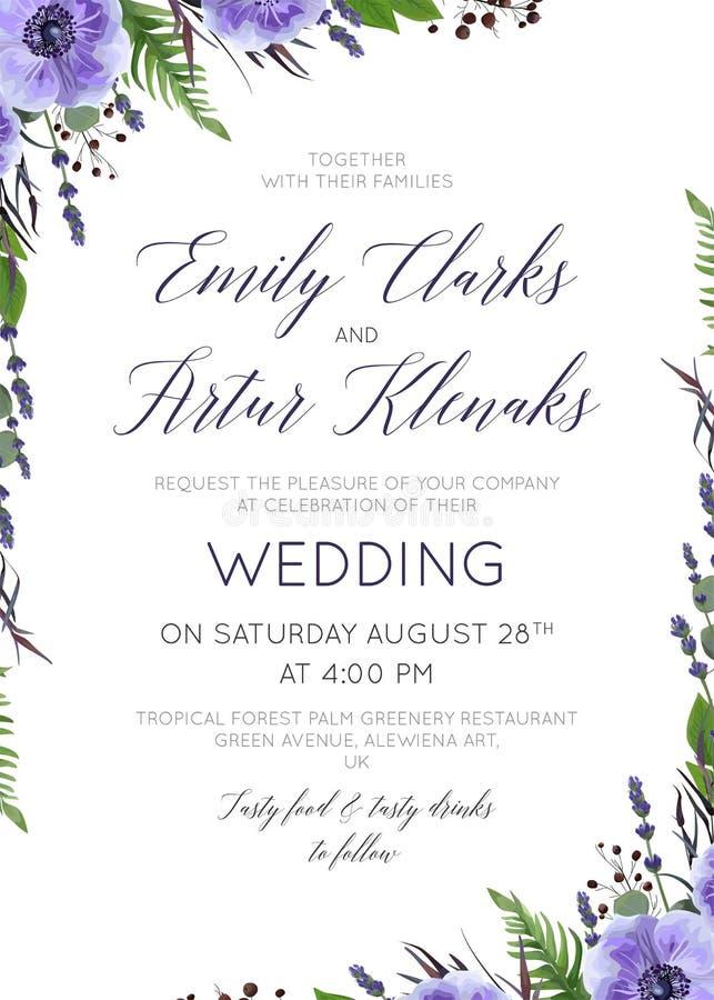 Le nozze floreali invitano, invito, conservano lo spirito di progettazione di carta della data illustrazione di stock
