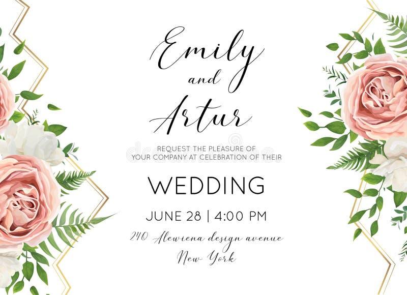 Le nozze floreali invitano, invtation, conservano la progettazione di carta della data con illustrazione vettoriale