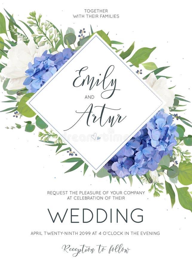 Le nozze floreali invitano, progettazione di carta dell'invito con il mazzo elegante dei fiori blu dell'ortensia, rose bianche de illustrazione vettoriale