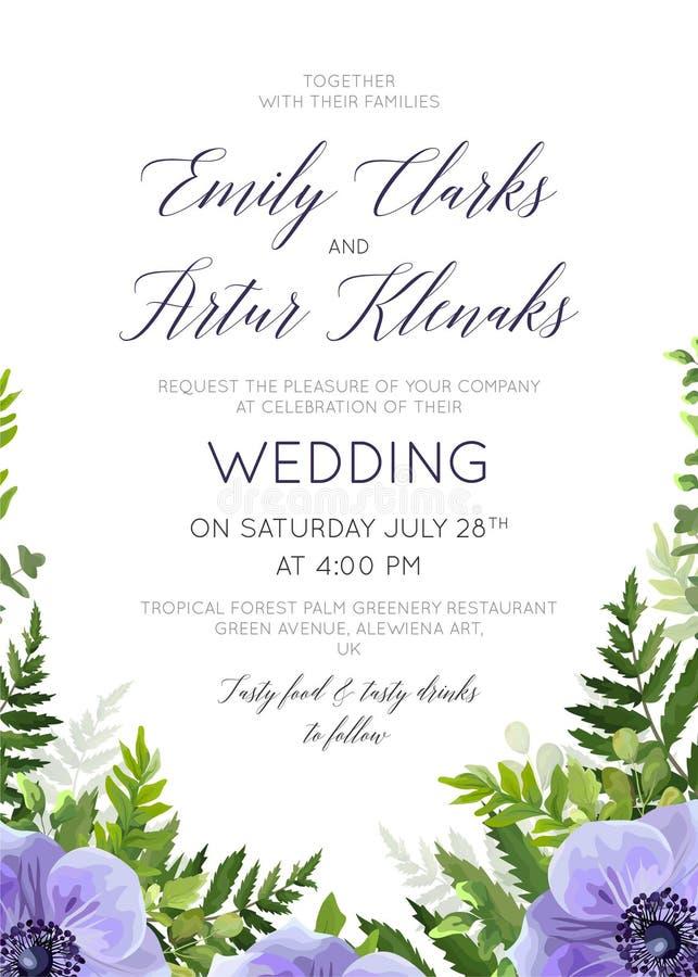 Le nozze floreali invitano, progettazione di carta dell'invito con wate elegante illustrazione vettoriale