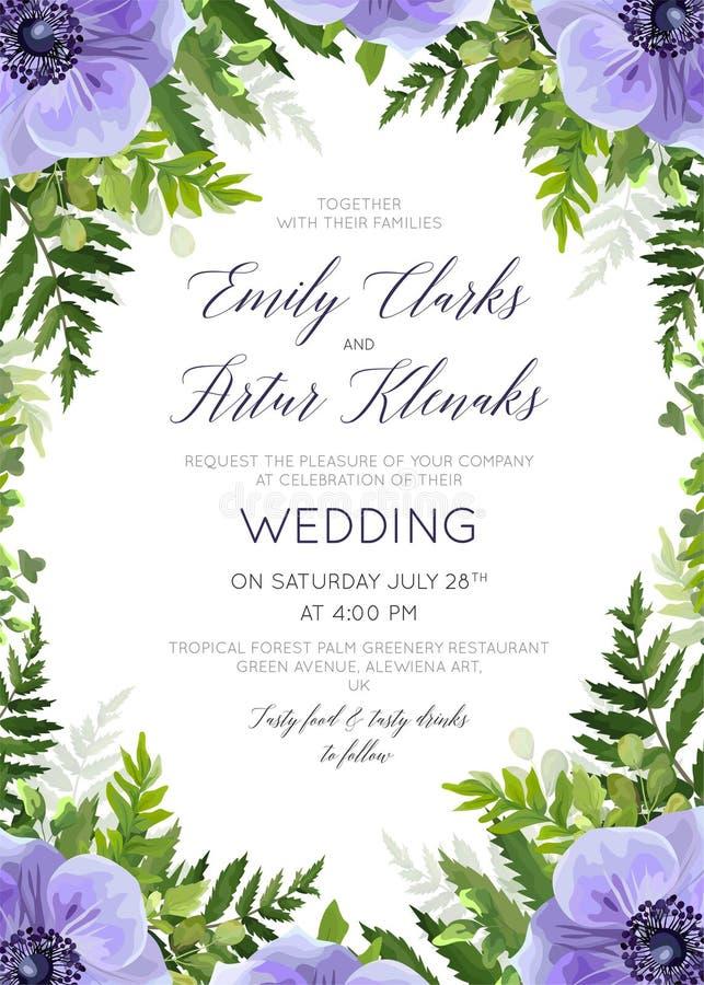 Le nozze floreali invitano, progettazione di carta dell'invito con wate elegante illustrazione di stock