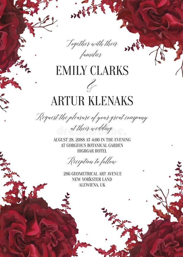 Le nozze floreali invitano, progettazione di carta di invtation Fiore del giardino rosso di marsala dell'acquerello, fiore di ama royalty illustrazione gratis