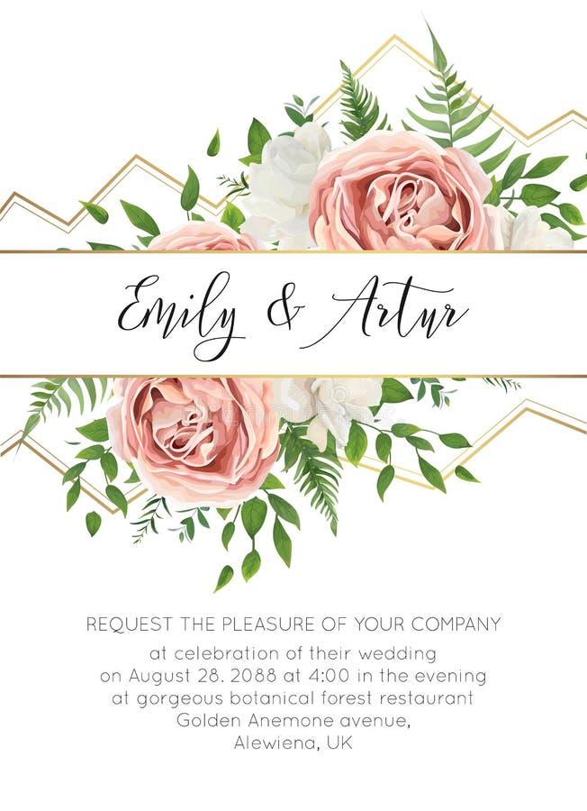 Le nozze floreali invitano, progettazione di carta di invtation Stile b dell'acquerello illustrazione di stock