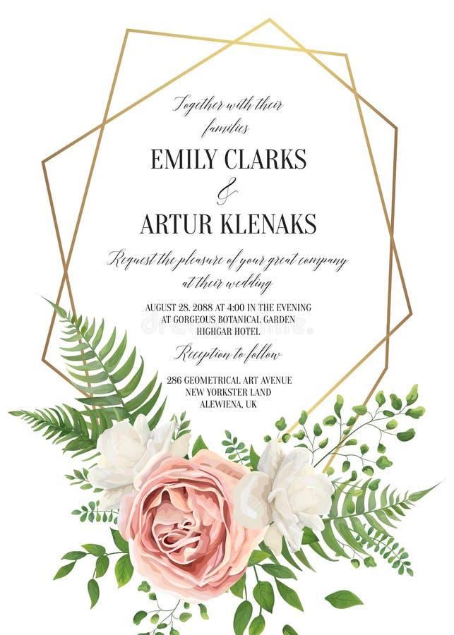 Le nozze floreali invitano, progettazione di carta di invtation Stile b dell'acquerello royalty illustrazione gratis