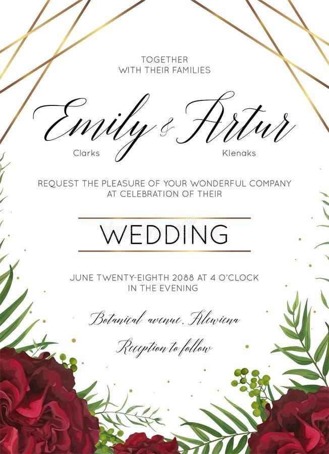Le nozze floreali invitano, risparmi dell'invito la progettazione di carta della data con i fiori rosa del giardino rosso di Borg illustrazione di stock
