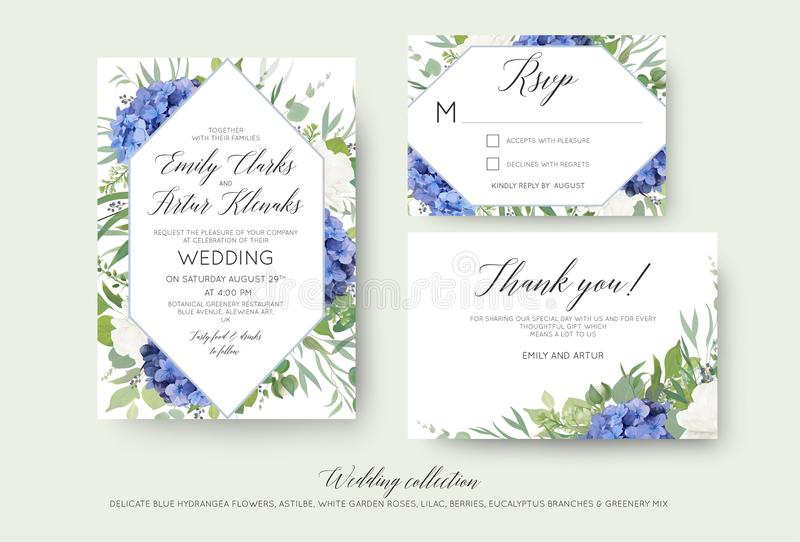 Le nozze floreali invitano, rsvp, grazie progettazione di carte con elegante royalty illustrazione gratis