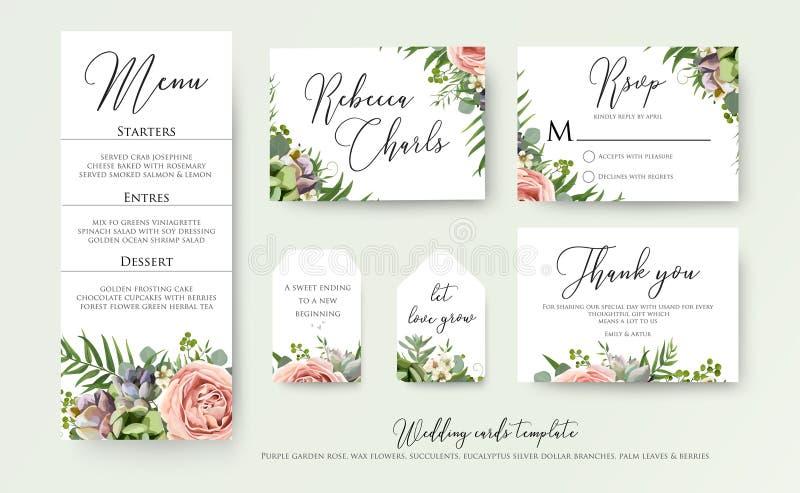 Le nozze floreali invitano vi ringraziano, progettazione di carte dell'etichetta del rsvp: lavend illustrazione vettoriale