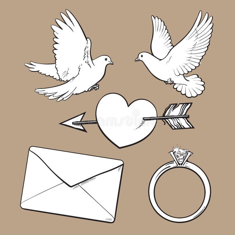 Le nozze, icona di impegno hanno messo con le colombe, cuore, anello, lettera di amore illustrazione vettoriale
