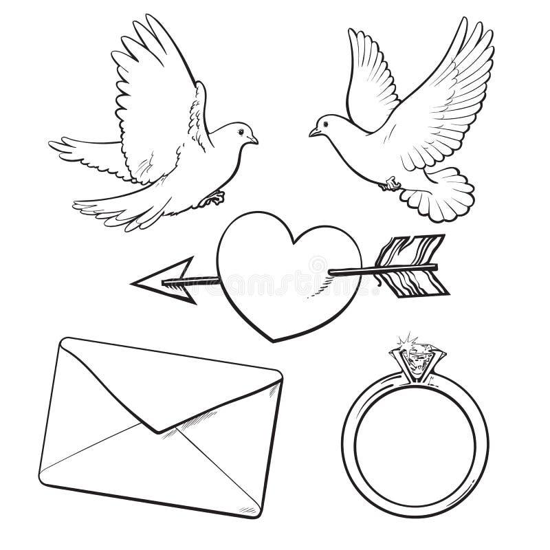 Le nozze, icona di impegno hanno messo con le colombe, cuore, anello, lettera di amore royalty illustrazione gratis