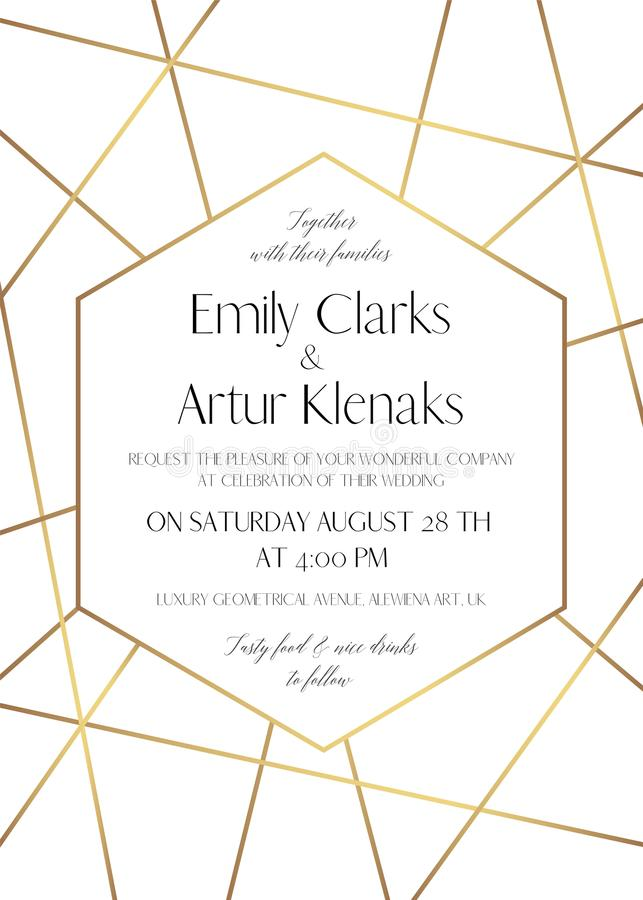 Le nozze invitano, conservano la progettazione delicata della carta di data con la f dorata illustrazione di stock