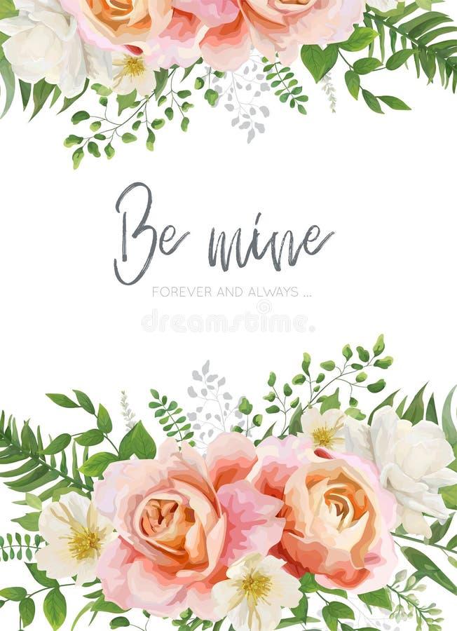 Le nozze invitano, invito, cartolina d'auguri, progettazione del manifesto Giardino illustrazione vettoriale