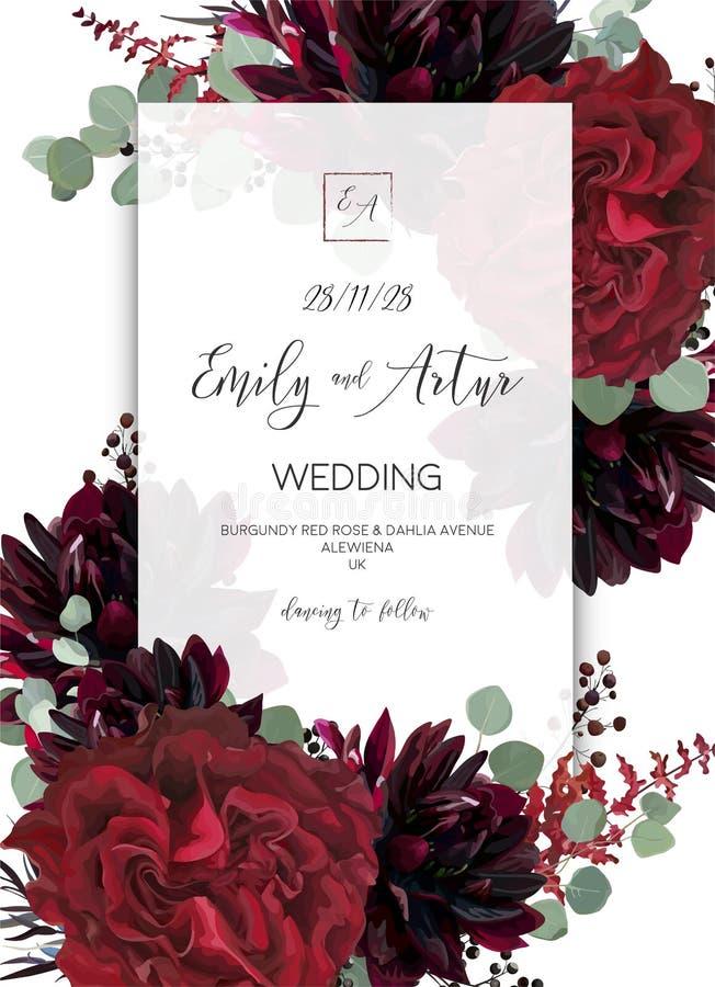 Le nozze invitano, invito salvo la progettazione di carta della data Marsal rosso illustrazione di stock