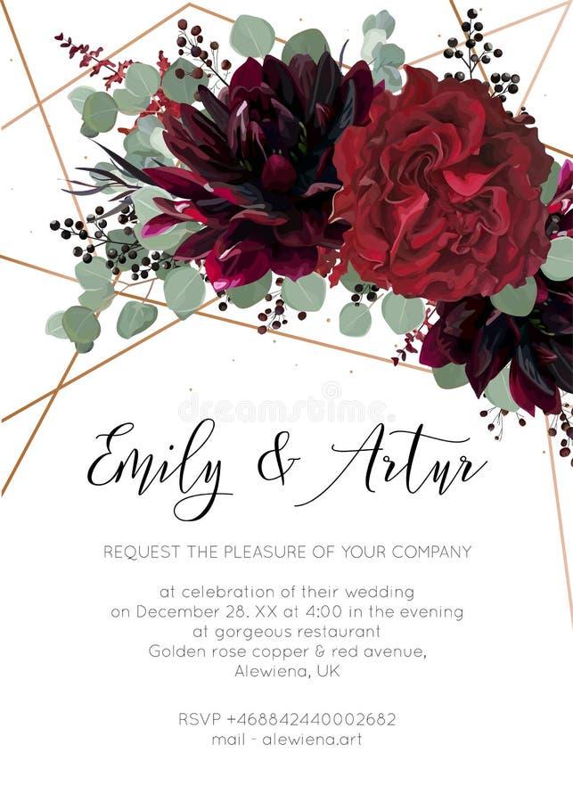 Le nozze invitano, invito salvo la progettazione floreale della carta di data Rosso illustrazione di stock