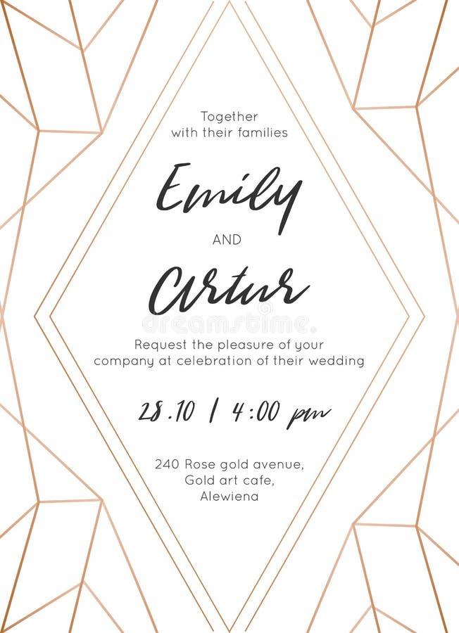 Le nozze invitano, invito salvo la progettazione moderna della carta di data con la rosa dorata geometrica, decorativo di classe  illustrazione vettoriale