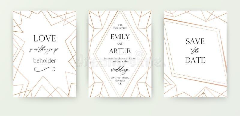 Le nozze invitano, invito salvo la progettazione moderna della carta di data con la rosa dorata geometrica, decorativo di classe  illustrazione di stock