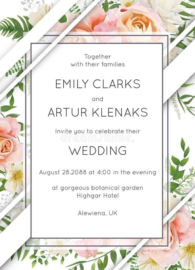 Le nozze invitano la progettazione floreale della carta dell'invito Pesca di rosa di giardino royalty illustrazione gratis