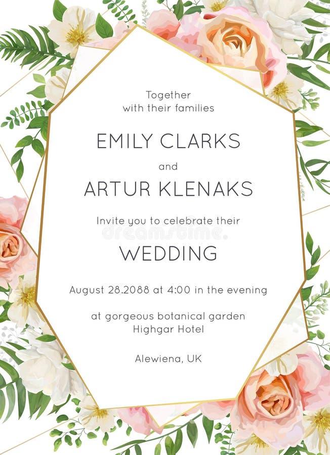 Le nozze invitano, progettazione floreale della carta dell'invito Pesca di rosa di giardino illustrazione di stock