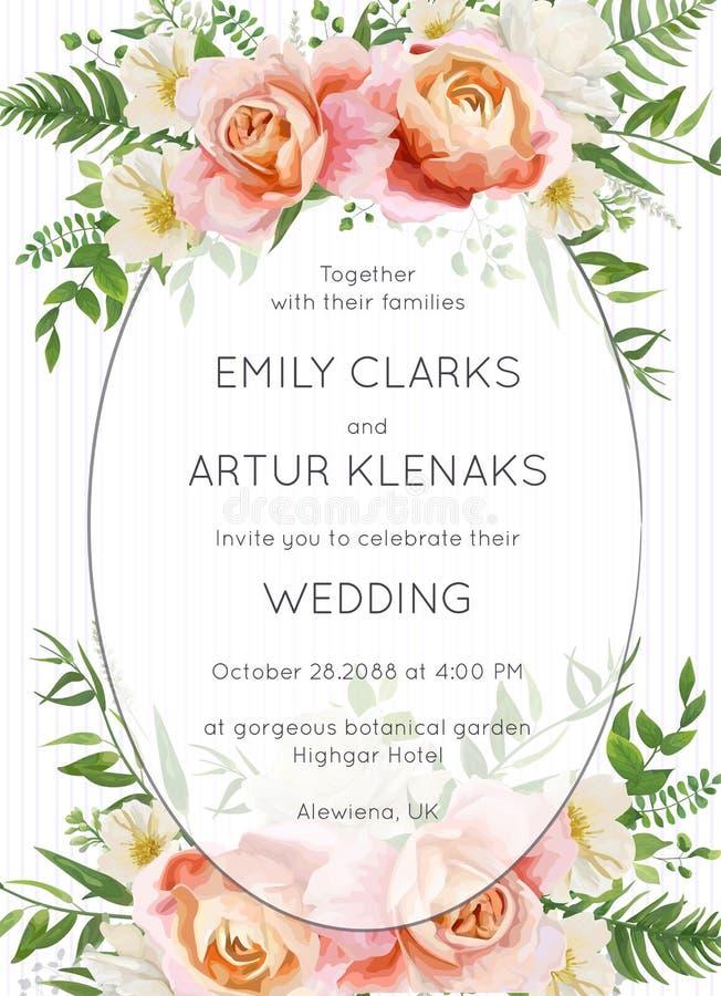 Le nozze invitano, progettazione floreale della carta dell'invito Pesca di rosa di giardino illustrazione vettoriale