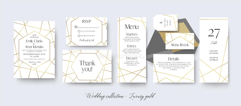 Le nozze invitano, rsvp, menu, grazie carda la progettazione delicata con illustrazione vettoriale