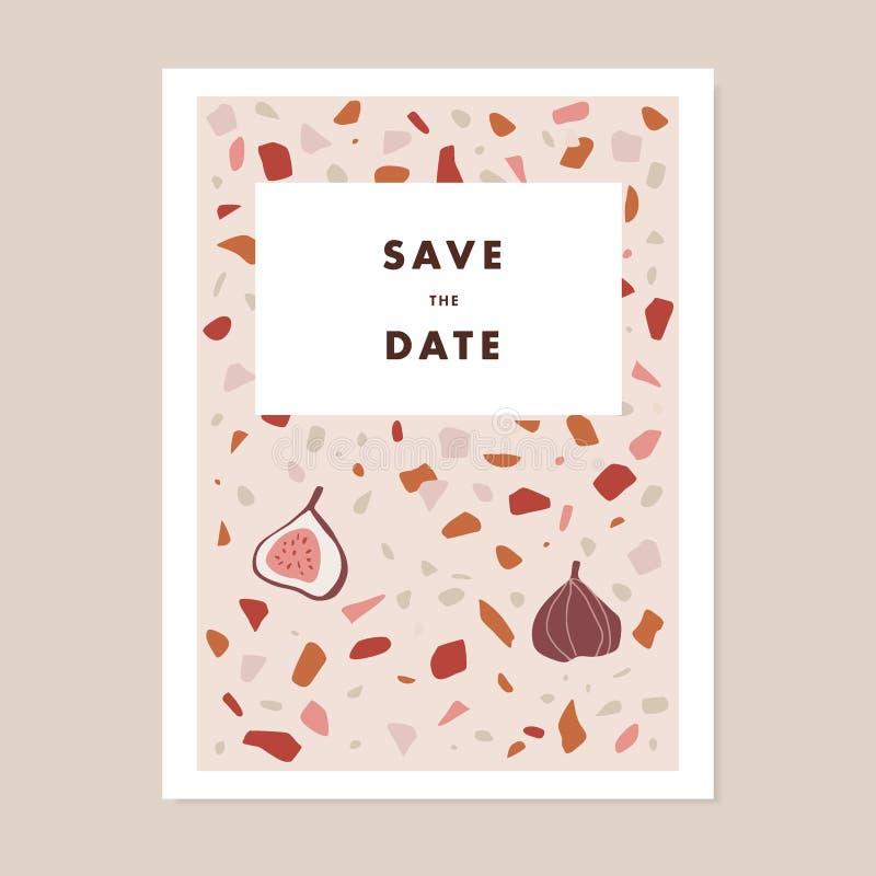 Le nozze moderne, conservano la cartolina d'auguri della data, invito Modello pastello di terrazzo con la frutta del fico Geometr illustrazione vettoriale