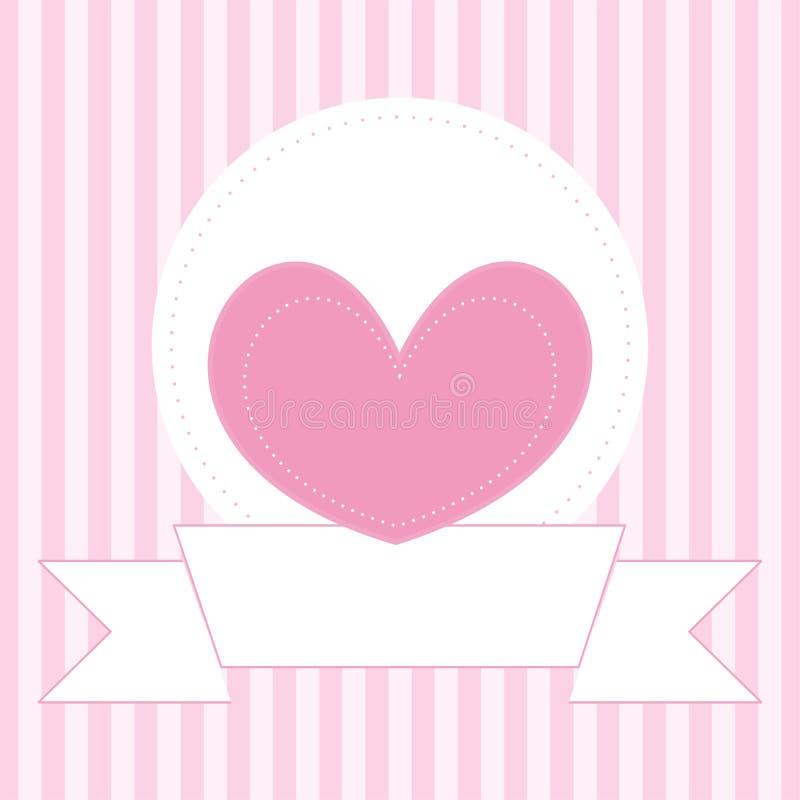 Le nozze o i biglietti di S. Valentino vector la carta con il fondo delle bande di rosa royalty illustrazione gratis