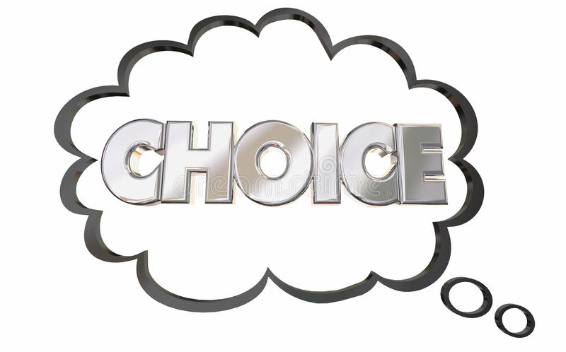 Le nuage bien choisi de pensée choisissent la sélection de Word choisie illustration stock