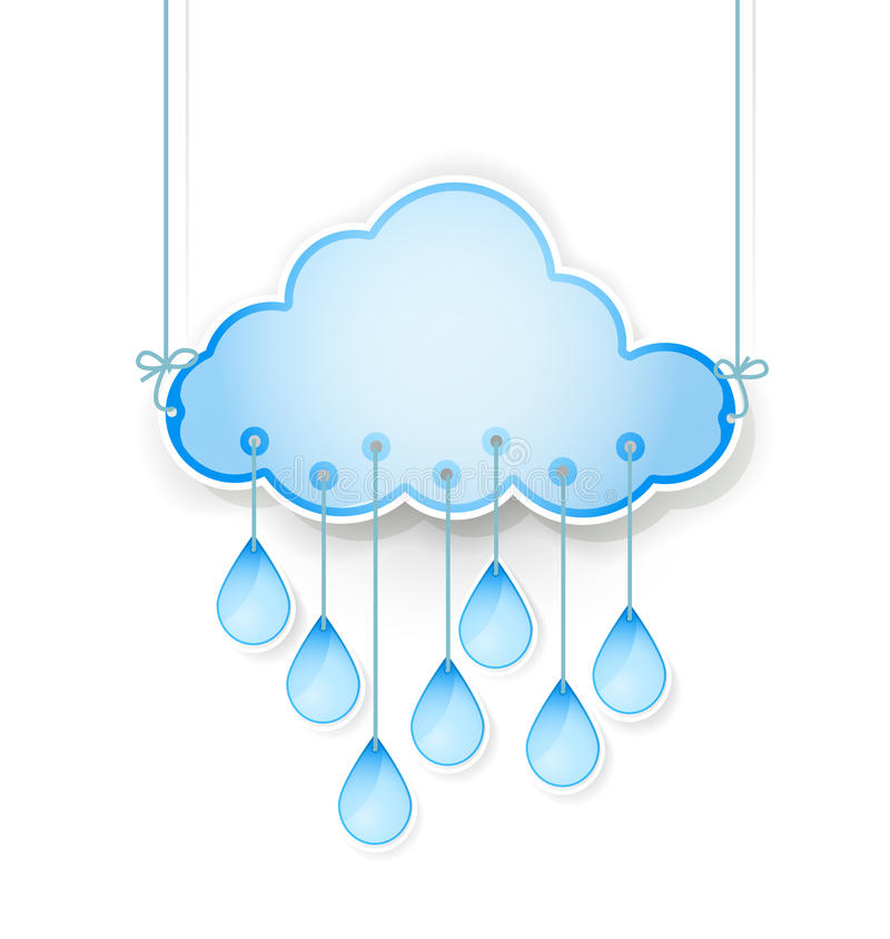 Le nuage bleu avec la pluie laisse tomber accrocher sur le blanc illustration stock