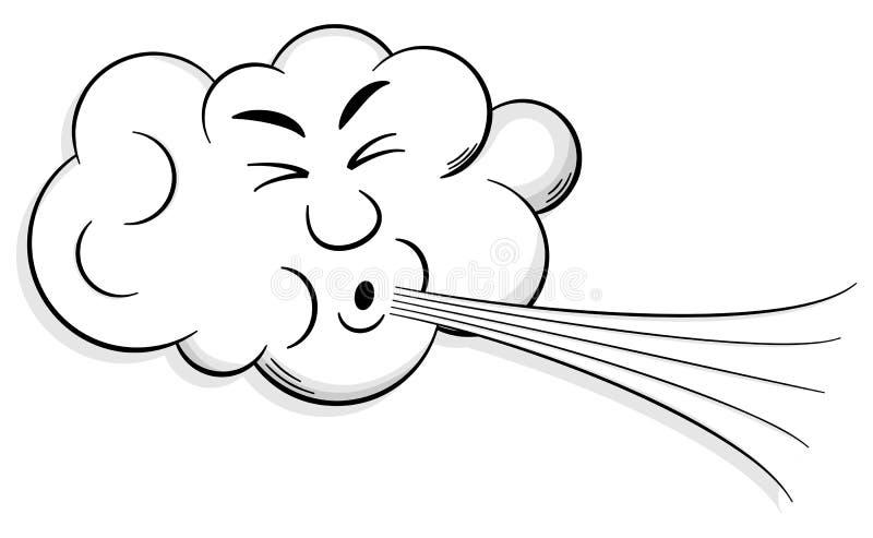 Le nuage de bande dessinée souffle le vent illustration stock